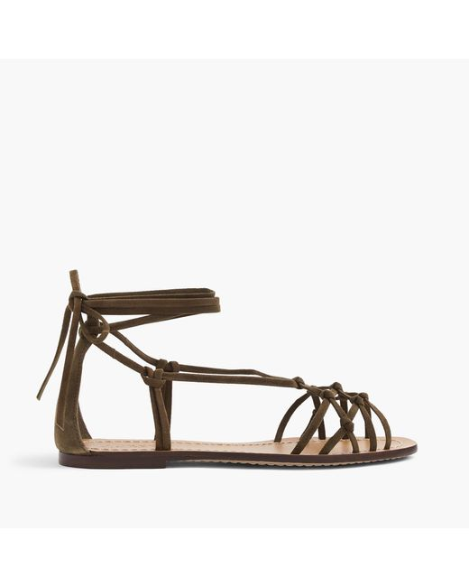 J.Crew | Brown Knotted Suede Sandals | Lyst
