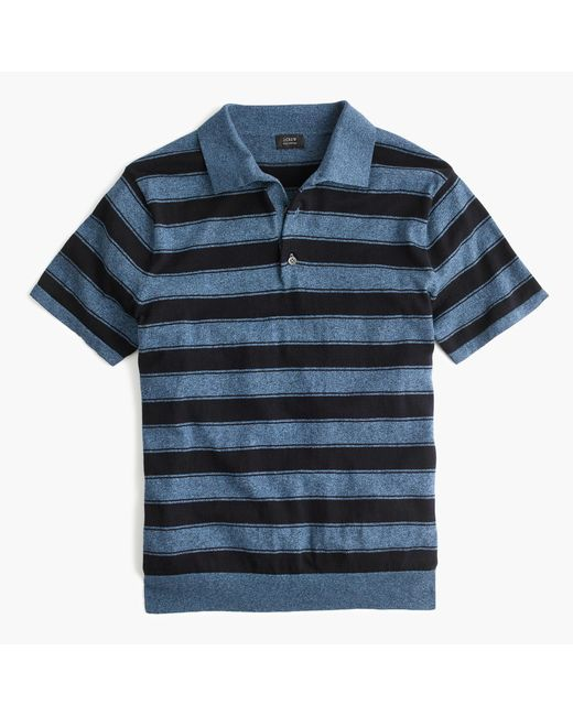 J.Crew | Blue Pima Cotton Short-sleeve Sweater-polo In Wide Stripe for Men | Lyst