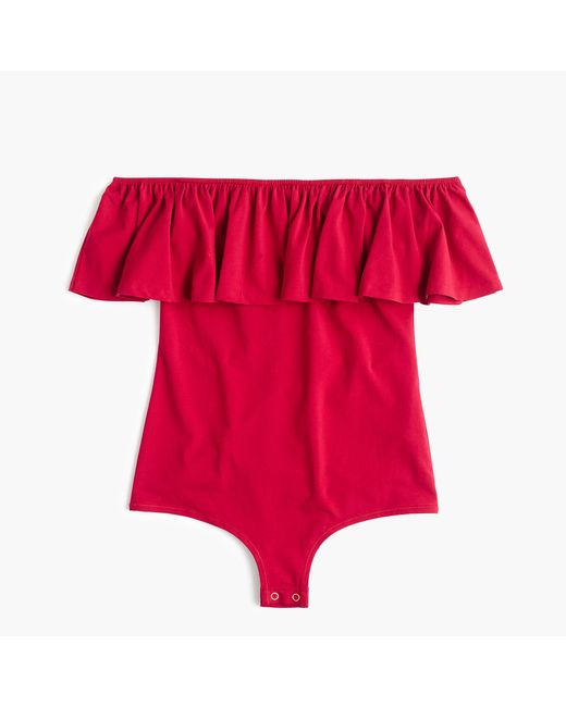 J.Crew | Red Off-the-shoulder Ruffle Bodysuit | Lyst