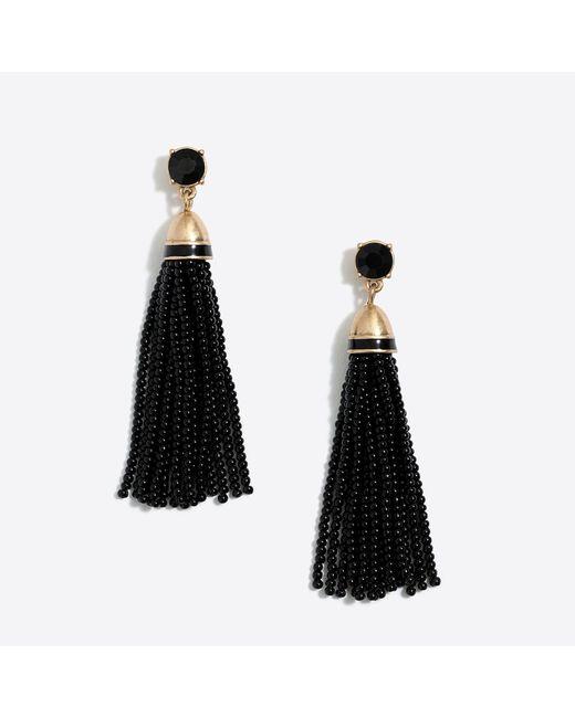 J.Crew - Black Beaded Tassel Earrings - Lyst
