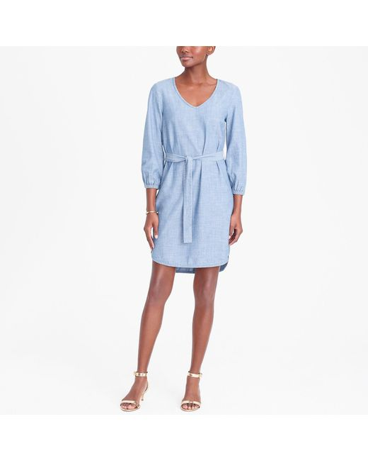 J.Crew - Blue Long-sleeve Chambray Tie-waist Dress - Lyst