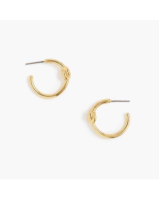 J.Crew - Metallic Knotted Gold Hoop Earrings - Lyst