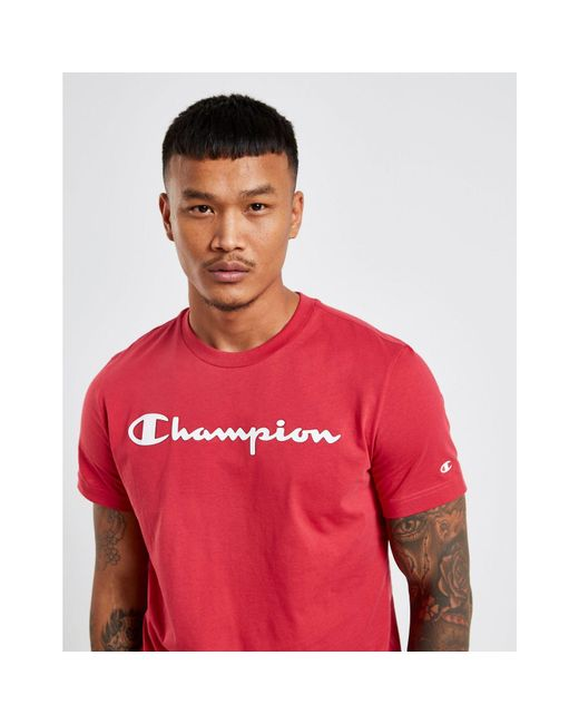 19739cedc43a ... Champion - Red Core Script T-shirt for Men - Lyst ...