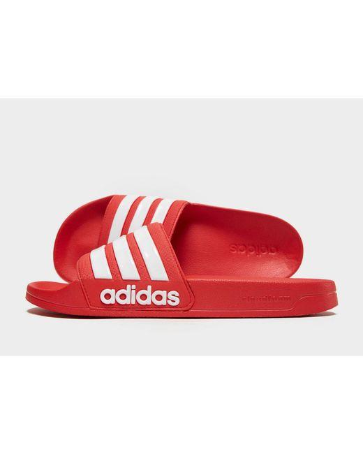 06a2b3b4bc4cc2 Adidas - Red Adilette Shower Slides - Lyst ...