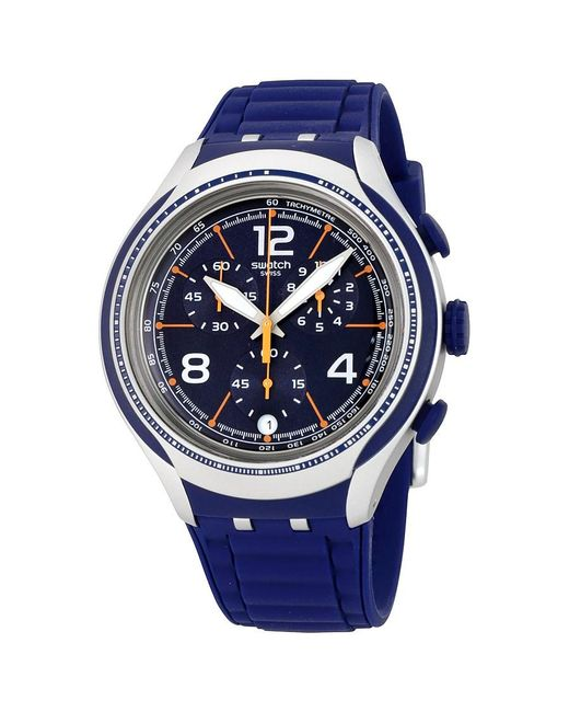 Swatch | Blue Face Chronograph Dark Blue Dial Watch Yys4015 for Men | Lyst