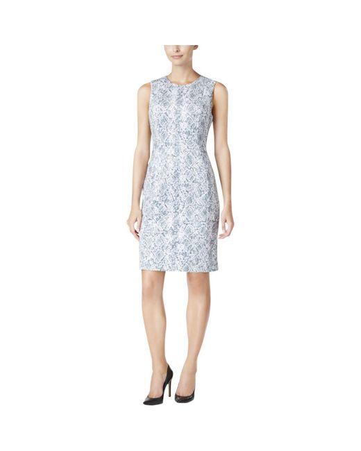 Calvin Klein - Blue Petites Snake Print Faux Suede Wear To Work Dress - Lyst