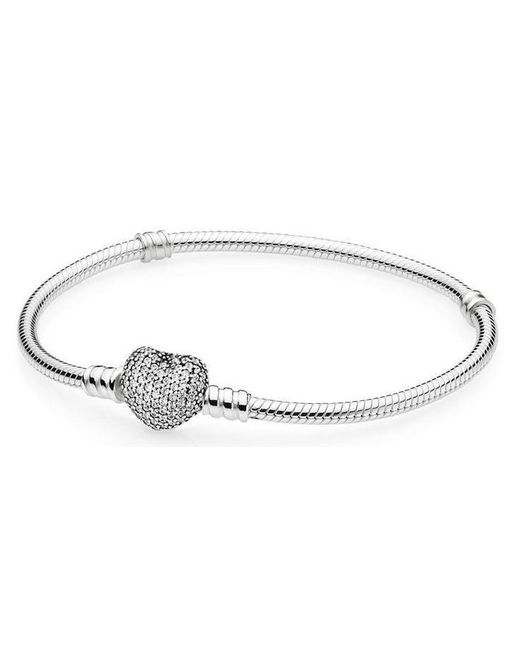 Pandora - Metallic Moments Silver Bracelet With Pave Heart Clasp - Lyst