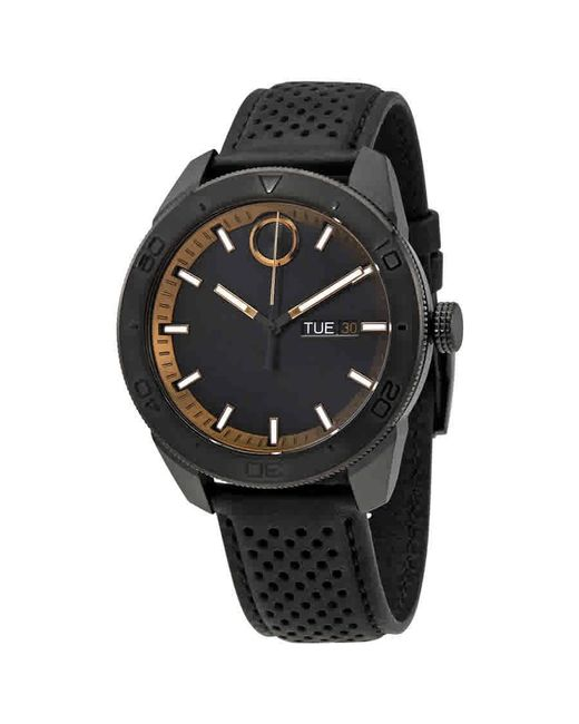 Movado - Bold Black Dial Black Leather Watch 3600478 for Men - Lyst