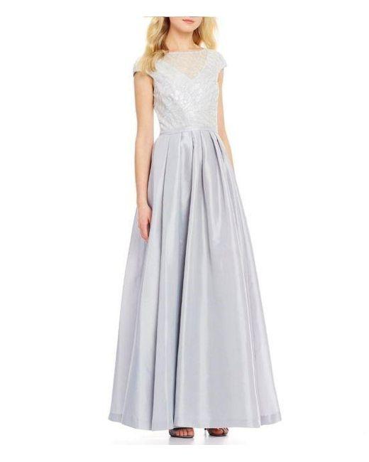 3f37f989f634 Calvin Klein - Metallic Sequin Taffeta Cap Sleeve Gown - Lyst ...