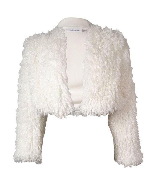 Calvin Klein | Multicolor Eggshell Faux Fur Bolero Shrug Size L | Lyst