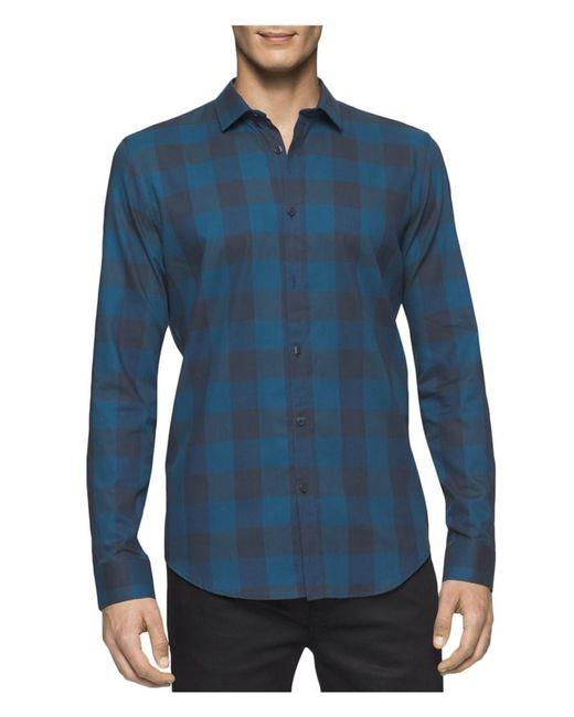 Calvin Klein - Blue Buffalo Check Crepe Shirt for Men - Lyst