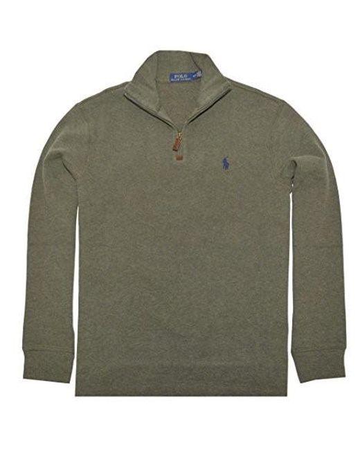 Polo Ralph Lauren - Green Half Zip French Rib Cotton Sweater (alpine  Heather for Men