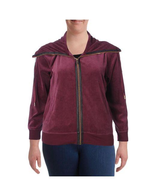 Calvin Klein - Red Plus Velour Zipper Jacket - Lyst