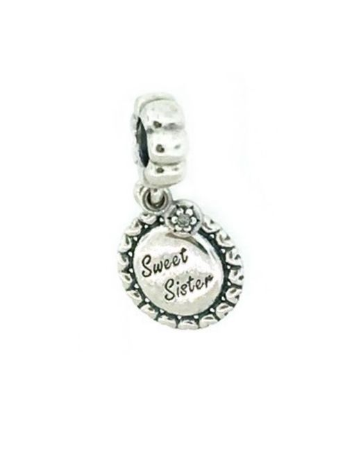 Pandora | Metallic 791126cz Sterling Silver Sweet Sister Dangle Charm | Lyst