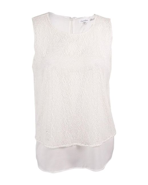 Calvin Klein | White Sleeveless Layered Look Blouse (xl | Lyst