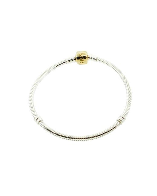 Pandora - Metallic Sterling Silver Bracelet With 14k Gold Clasp - Lyst
