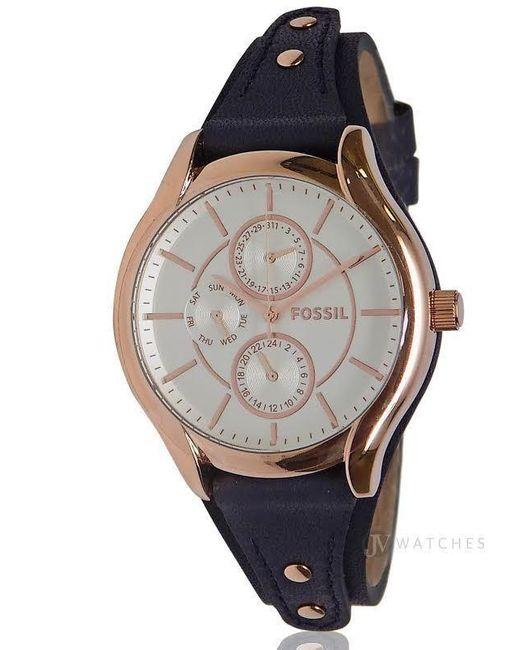 Fossil | Multicolor Brand New Womens (bq3138) Blue Leather Strap Boyfriend Rose Gold Watch | Lyst