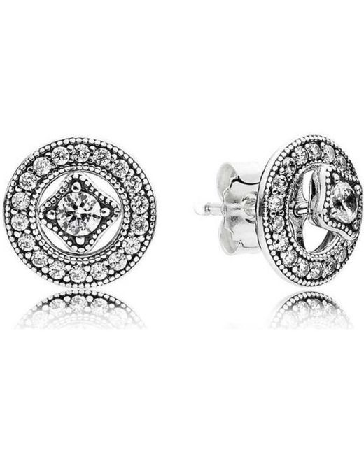 31421e513 PANDORA Vintage Allure Stud Earrings - 290721cz in Metallic - Save ...
