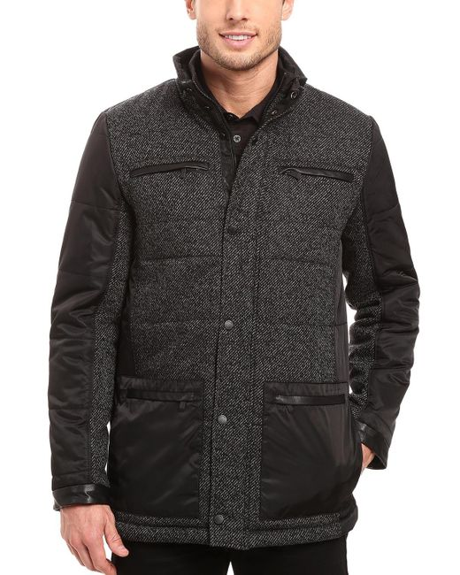 CALVIN KLEIN 205W39NYC - Mixed-media Quilted Pea Coat Large L Black & Grey Jacket for Men - Lyst