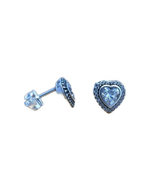 Pandora - Blue Authentic Earrings Sparkling Love With Clear Cz 290568cz - Lyst