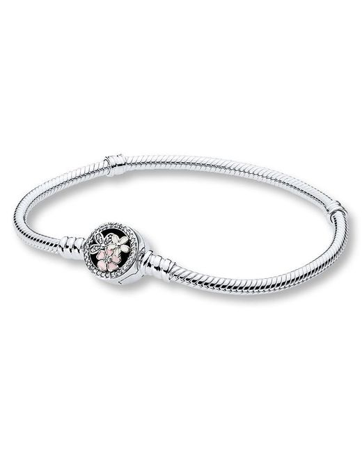 Pandora - Metallic Moments Silver Bracelet With Poetic Blooms Clasp - Lyst