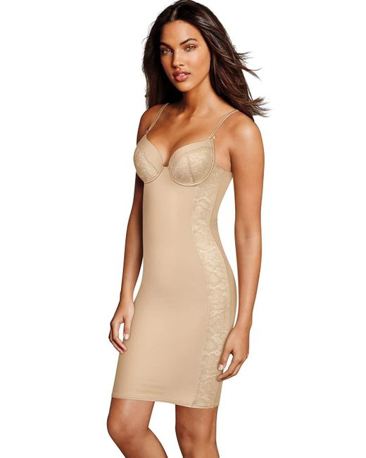 57c45b36b2e Lyst - Maidenform Push-up Firm Control Convertible Slip in Natural ...