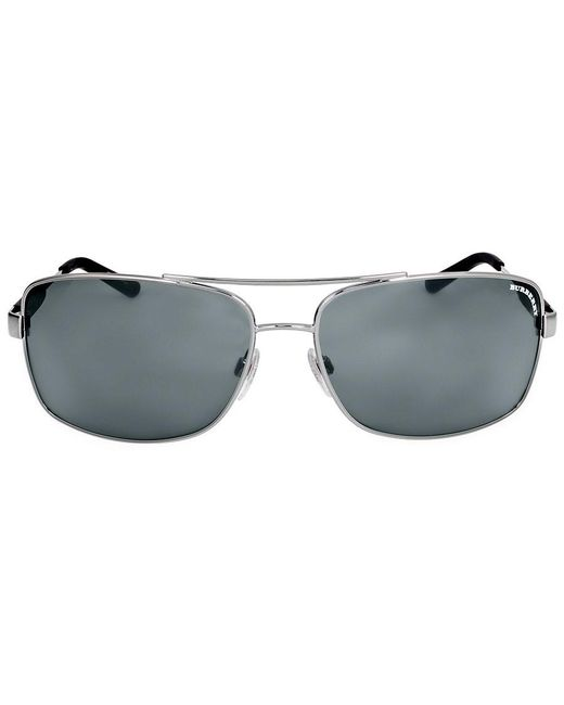 Burberry - Gray Acoustic Check Plaque Sunglasses for Men - Lyst