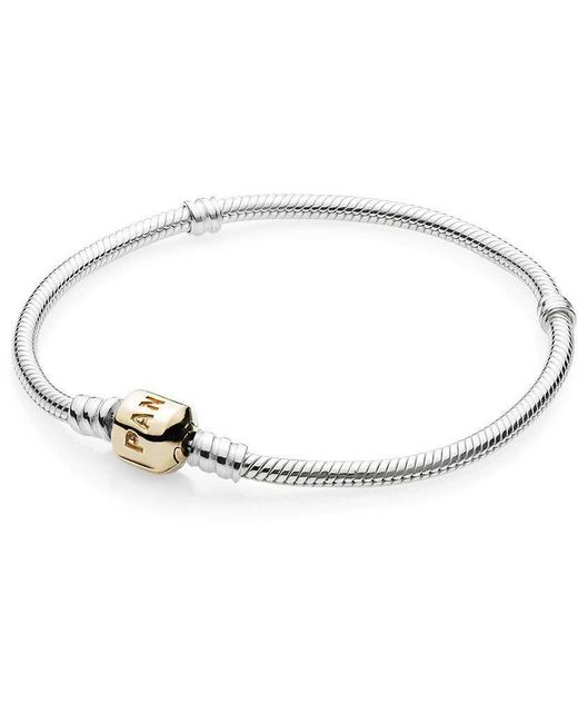 Pandora | Metallic Sterling Silver Bracelet With 14k Gold Clasp | Lyst