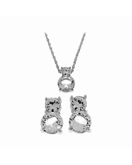 Swarovski | Metallic Brilliant Crystal Rhodium Solitaire Necklace And Earrings Set 1807339 | Lyst