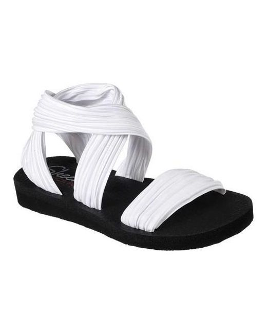 9630a92e2719 Lyst - Skechers Meditation Still Sky Ankle Strap Sandal in White