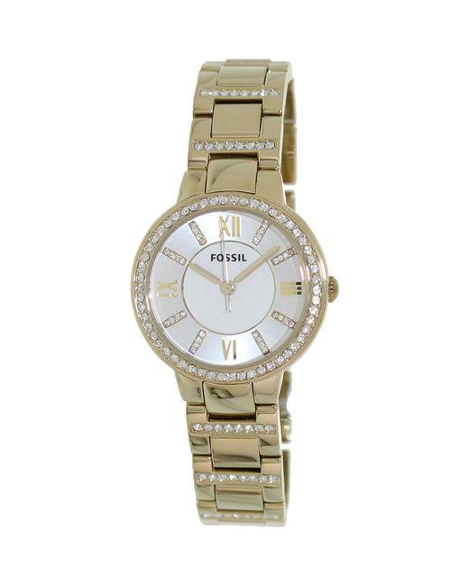 Fossil | Metallic Virginia Es3283 Gold Stainless-steel Quartz Fashion Watch | Lyst