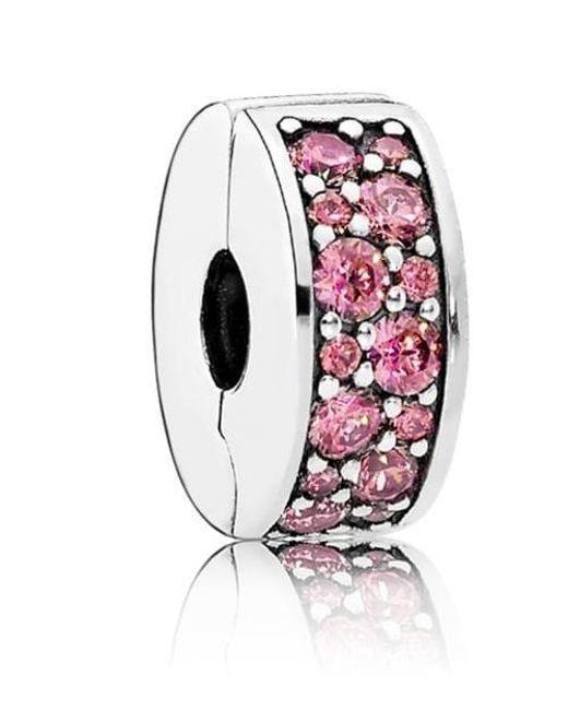 Pandora | Honeysuckle Pink Shining Elegance Spacer Clip Charm | Lyst