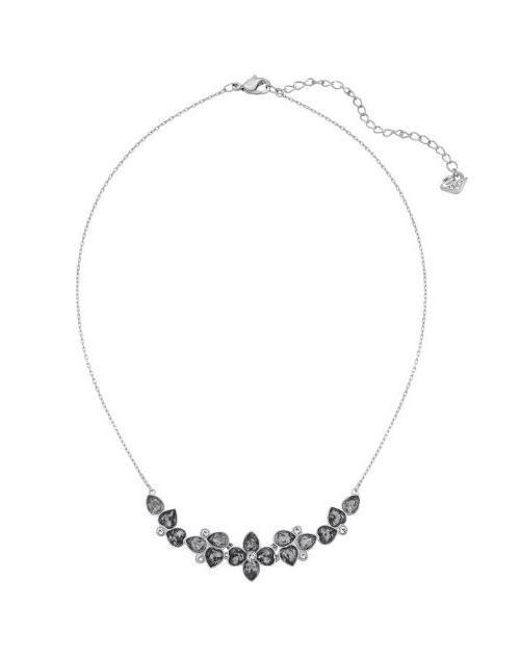 Swarovski | Metallic Bunch Ruthenium-plated Gray Crystal Frontal Necklace | Lyst