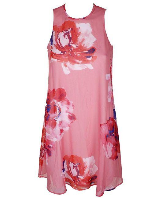 Calvin Klein - Pink Multi Sleeveless Floral-print Chiffon Shift Dress 2 - Lyst