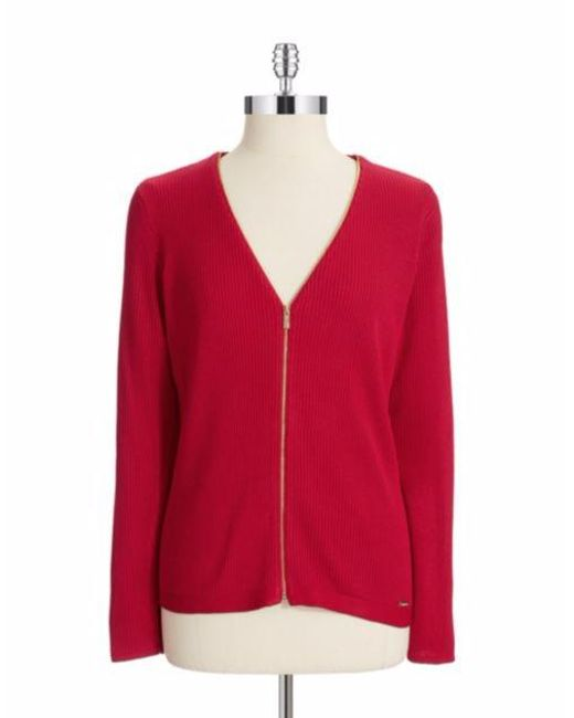 Calvin Klein - Red Ribbed Knit Zip Cardigan - Lyst