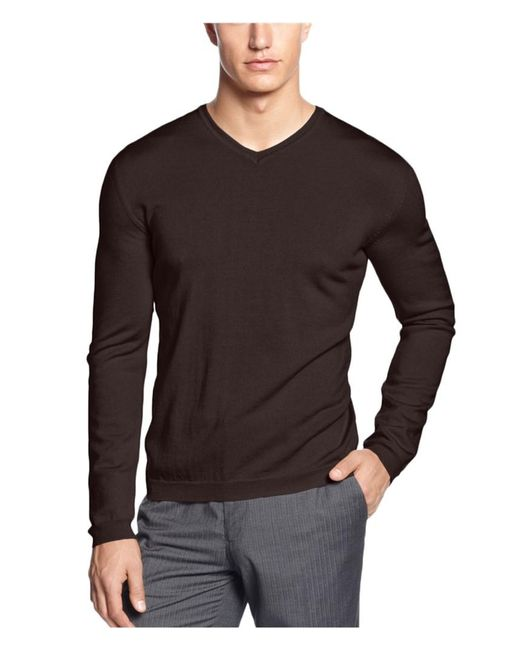 Calvin Klein - Merino Solid Pullover Sweater Brown M for Men - Lyst