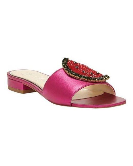 Crizma Crystal Watermelon Ornament Flat Slide Sandals LEK6myHB