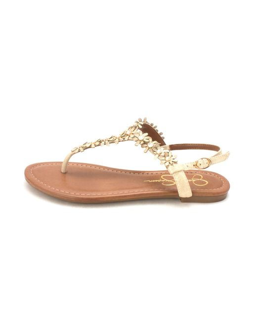 Jessica Simpson - Metallic Riel Women Open Toe Synthetic Gold Thong Sandal - Lyst