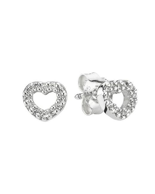 Pandora - Metallic Be My Valentine Stud Earrings In 925 Sterling Silver With Clear Cubic Zirconia - Lyst