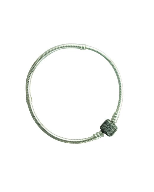 "Pandora - Metallic 590723cz-19 Sterling Silver Barrel Clasp Bracelet With Clear Cz 7.5"" - Lyst"