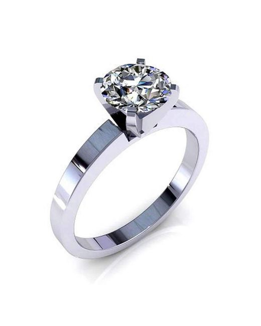 Diamoire Jewels | Metallic Single Solitaire Swarovski Zirconia Ring In 10kt White Gold | Lyst