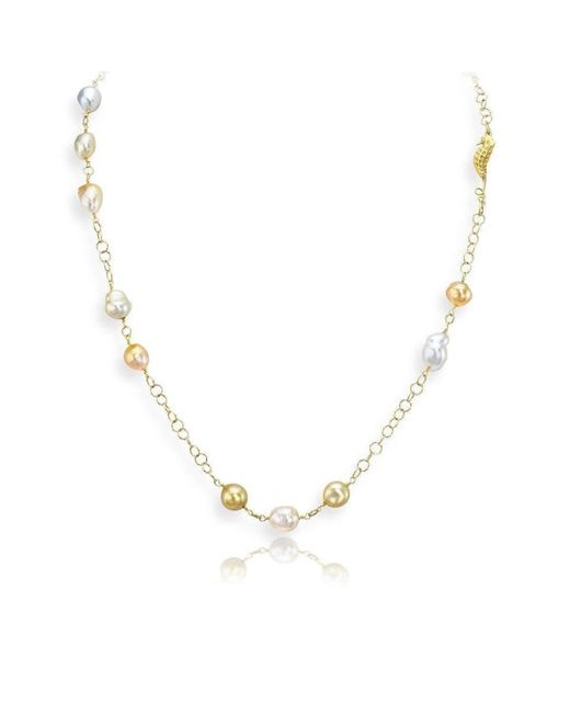 LJD Designs - Metallic Baroque Cultured Pearl Necklace - Lyst