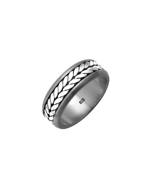 Prism Design - Metallic Titanium And Silver Rope Ring - Lyst