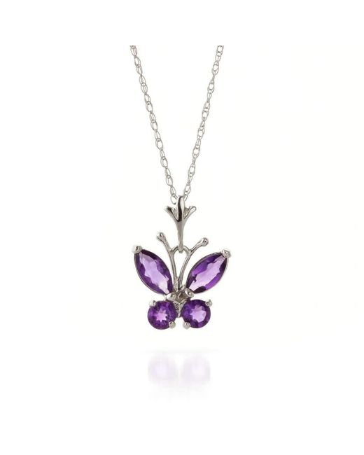QP Jewellers | Multicolor Amethyst Butterfly Pendant Necklace In 9kt White Gold | Lyst
