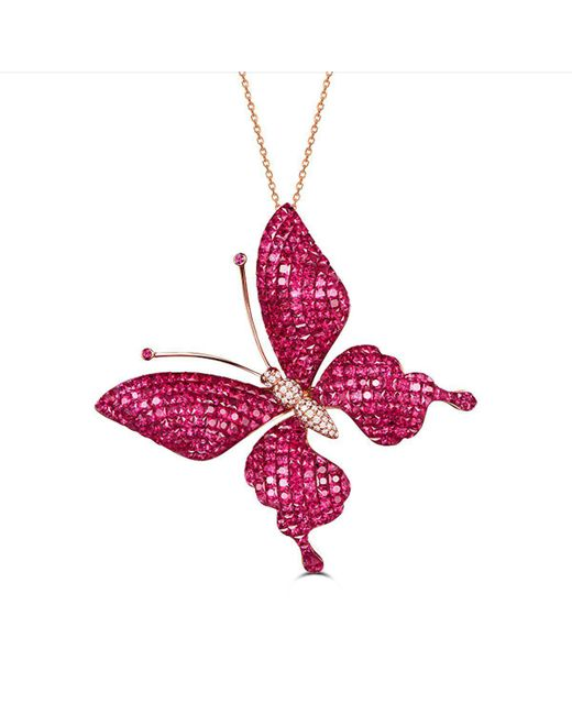 SILVER YULAN | Multicolor Ruby-sapphire Butterfly Necklace-brooch | Lyst