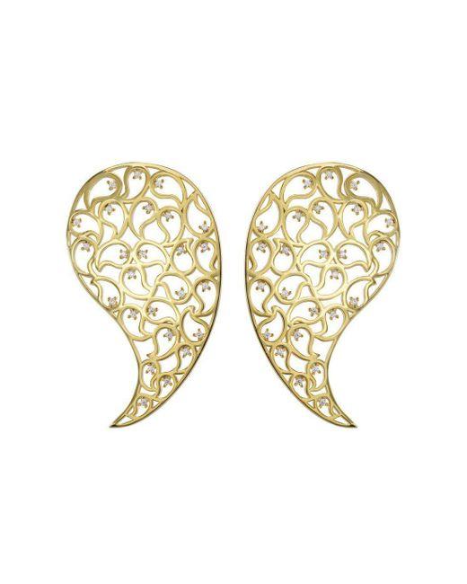 Sonal Bhaskaran - Metallic Jaali Gold Paisley Earrings With Clear Cubic Zirconia - Lyst