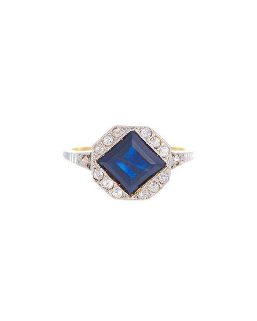 Alexis Danielle Jewelry - Blue Beautiful Art Deco Square Cut Sapphire And Diamonds Ring - Lyst
