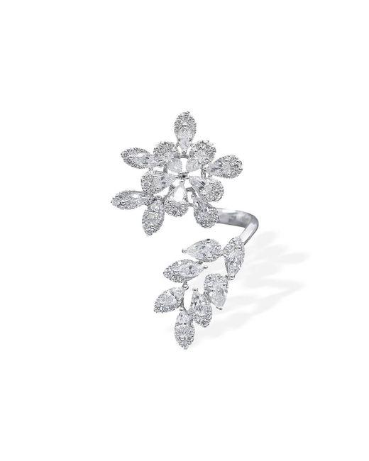 W. Salamoon & Sons - Metallic 18kt White Gold & Diamond Floral Twist Ring - Lyst