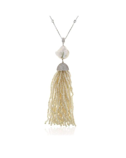 Cosanuova - Metallic Pearl Baroque Tassel Necklace - Lyst