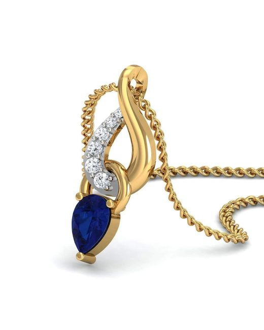 Lyst diamoire jewels nature inspired diamond and blue sapphire diamoire jewels multicolor nature inspired diamond and blue sapphire pendant in 18kt yellow gold aloadofball Image collections